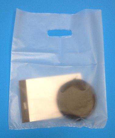12 x 15, 3 Mil, Frosted High-Density Merchandise Die-Cut Handle Bags