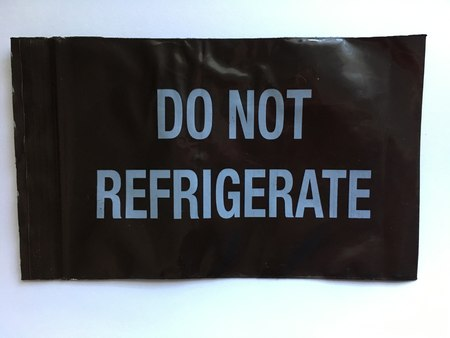 4 x 6, 3 Mil Amber Opaque Zip Lock Bags Printed Do Not Refrigerate
